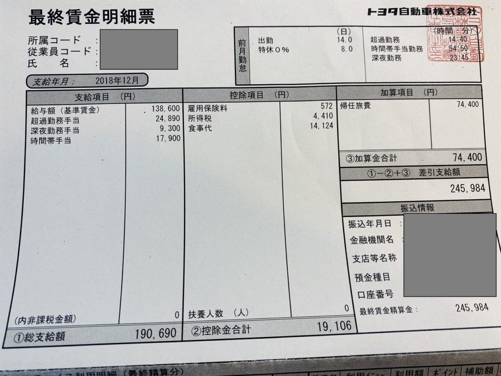トヨタ期間工の給料明細(64万5,984円)